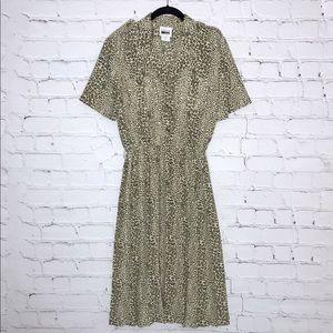 Vintage Cream and Tan Leopard Shirt Dress Midi
